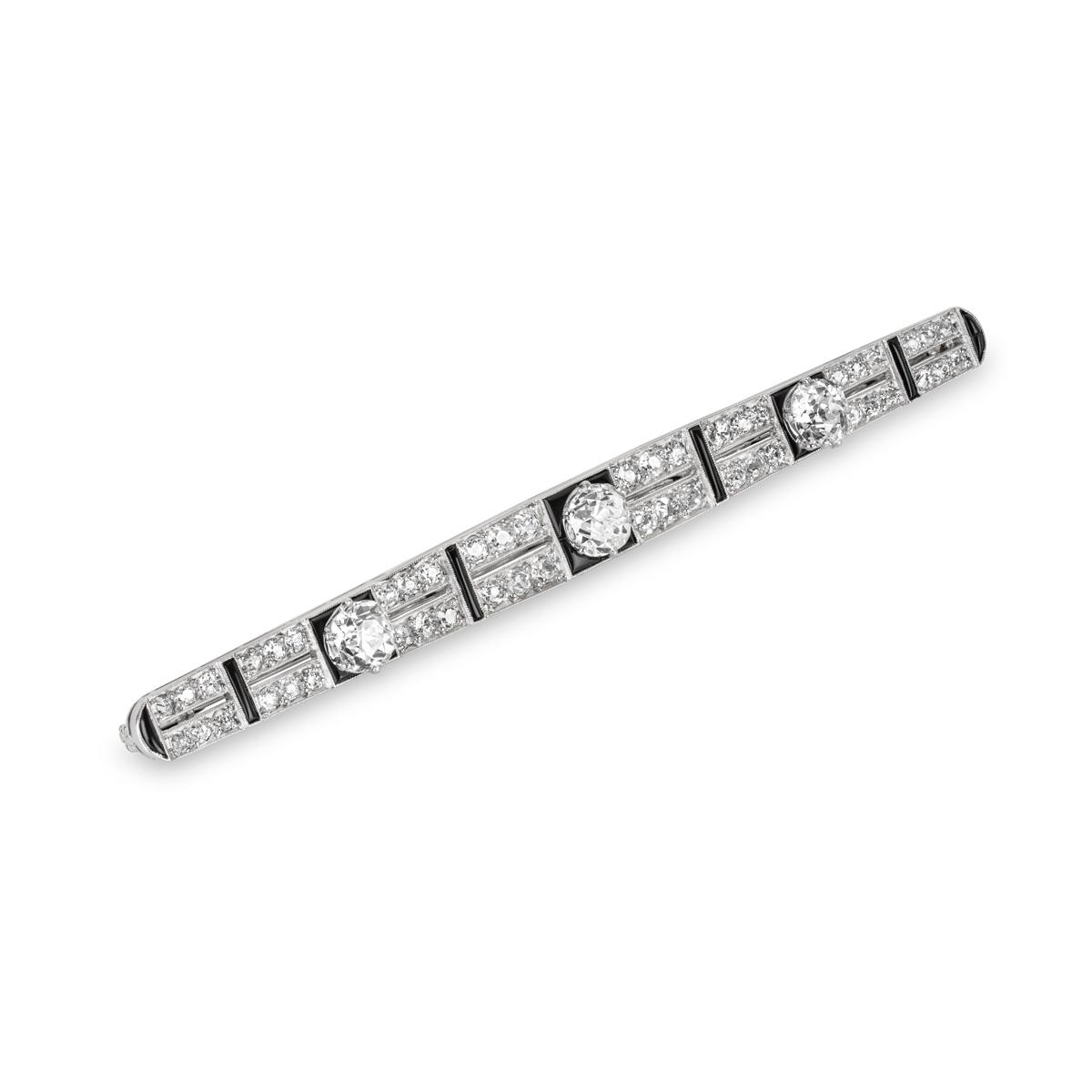 Diamond and Onyx Bar Brooch in Platinum c.1920